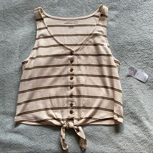 American Eagle Striped Crop Top Size M